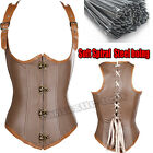 Sexy Steel Boned Brown Vest Corset Steampunk Waist Trainer Cincher S-6XL Plus