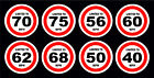 Speed Restriction Stickers Limited To 40 50 56 60 62 68 70 75 MPH Vehicle Signs