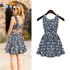 Women Fashion Sexy Floral Casual Evening Cocktail Party Mini Dress Summer Dress