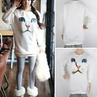 Chic Womens Casual Blue Eyes Cat Face Print Trendy Knitted Sweater Jumper Jersey