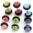 2pc Multi Color Stainless Steel Barbell Fake Cheater Ear Plug 18G Look 6G-00G