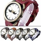 1pc Mustache Bronze Bezel Case Leather Dial Retro Quartz Analog Watch Jewelry