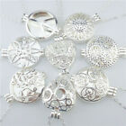 25mm 30mm Silver Alloy Flower Locket Necklace Fragrance Aromatherapy Diffuser