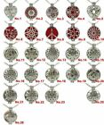 """Dull Alloy 25mm 30mm Pad Flower Locket Necklace 24"""" Fragrance Diffuser"""
