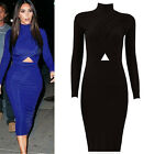 Womens Sexy Ladies Long Sleeve Midi Party Bandage Bodycon Evening Cocktail Dress