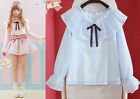 Cute Young Lolita Double Falbala Collar Blouse Bell Sleeve Bowknot Top Shirt