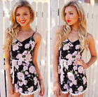 2015 Sexy Women Lady  V-Neck Chiffon Playsuits Jumpsuits Rompers Floral Style