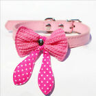 Bowknot Adjustable PU Leather Dog Puppy Pet Cat Collar Necklace Neck Lace XS S M