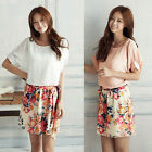 Sweet Women's Floral Chiffon Mini Dress Pleated Party Short Skirt Summer