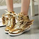 Women's Gold And Silver Color Wings High Hip-hop Girl Street Dance Shoes