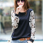 Women Batwing Lace Sheer Top Casual Tee Loose T-shirt Club Blouse New  Tunic