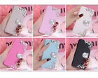 Silk Leather Flowers Diamonds Wallet Flip Magnetic Stand Case Cover For Samsung