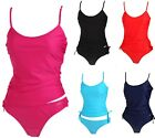 NEW KULU PLAIN TANKINI SWIMWEAR BIKINI TOP BRIEF SET CHOOSE COLOUR SIZE RRP £39