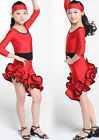 Kids Dancewear Costumes Girls  Latin Salsa Rhythm swing Ballroom Dance Dress