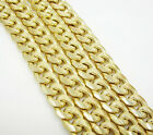 """22-36"""" 7.5mm 10k Yellow Real Gold Hollow Miami Curb Cuban Chain Necklace Mens"""