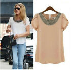 New Fashion Womens Ladies Chiffon White Sleeve T Shirt Summer Tops Beads Blouse