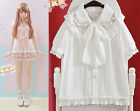 Lolita Lace Falbal Hollow Bow Collar Kawaii Chiffon Blouse Tops Shirt Pink&White