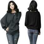 Maxi Womens Batwing Loose Casual Cotton Long Sleeve T-Shirts Tops Blouse