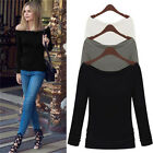 Glamour Sexy Off Shoulder Boat Neck Casual Long Sleeve Slim T-Shirt Top Blouse