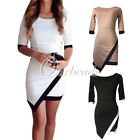 Lady's Elegant Half Sleeve Shealth Above Knee Length Asymmetrical Cotton Dress