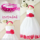 Lovely Ivory/fuchsia pink rose petals flower girl dress FREE HEADPIECE all sizes