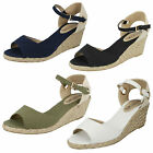 LADIES TEXTILE PEEP TOE LIGHTWEIGHT SUMMER SANDALS (SPOT ON F2247