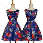 New Vintage 1950s Style Floral Rose Pattern Swing Circle Party Dresses Plus Size