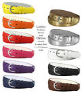 Womens Solid Color Skinny Leather Dress Belt 1-1/8 wide *Multiple Colors!