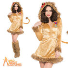 Adult Sexy Lion  Costume Fancy Dress Ladies Animal Cat Jungle Outfit