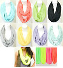 INFINITY Scarves NEON & PASTEL soft light weight solid SUMMER Scarf MANY COLORS