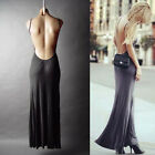 Women Dress Sexy Backless Clubwear Long Maxi Black Open Back Bandage Dress