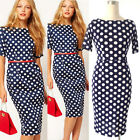 Ladies Retro Rockabilly Spotted Pencil Dress Business Office Party Wiggle Dress