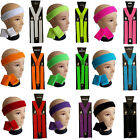 NEON HEADBAND WRISTBANDS BRACES SET 1980S 80S FANCY DRESS COSTUME FOR TUTU