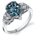 Tear Drop 2.00 cts London Blue Topaz Solitaire Ring Sterling Silver Size 5 to 9