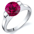 Bezel Set 2.50 cts Ruby Engagement Ring Sterling Silver Sizes 5 to 9