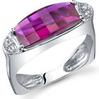 Radiant and Seductive 3.00 cts Barrel Cut Ruby Ring Sterling Silver Size 5 to 9