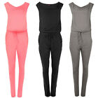 New Womens Ladies Plain Sleeveless Short Neck Cowl Sleeve Playsuit Jumpsuit Size