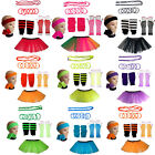 CHILD NEON TUTU COMPLETE SET GLOVES LEGWARMERS BEADS BANGLES WRISTBANDS HEADBAND