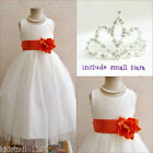 Adorable Ivory/brunt orange wedding flower girl dress FREE SMALL TIARA all sizes