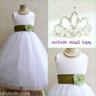 Adorable White/olive green flower girl party dress FREE SMALL TIARA all sizes