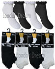 6x or 12x Pairs Ladies & Girls Pretty Lace Top Ankle Liner Trainer Socks UK 4-6