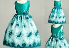 Teal Floral Lace Easter Wedding Recital Bridesmaid Flower Girl Dress Gown 11