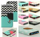 New Fashion Flip Leather Wallet Case Cover w/ Card Holder Stand for Apple iPhone