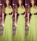 New Women Sexy Summer Chiffon Maxi Bodycon V Neck Long Beach Evening Party Dress