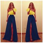 Sexy Womens Bandage Side Slit Prom Gown Evening Cocktail Club Party Long Dress