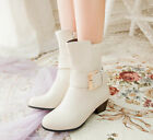 Womens Thick Low Heel Shoes Buckle Mid-calf Boots Knight Shoes Plus Size