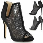 New Ladies Women Stiletto High Cut Out Peep Toe Ankle Calf Boots Shoes Sandals