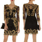 Gorgeous Women Sexy Evening Party Cocktail Prom Black Gold Embroidered Dress