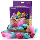 Chiwava Pet Knitted Fat Mice with Feather Catnip Cat Toy Mouse Kitten Catch Play