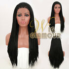 "20"" - 28"" Long Twisted Locks Black Braided Lace Front Wig Synthetic Hair Wig"